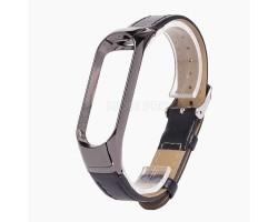 """Ремешок - для """"Xiaomi Mi Band 3/Mi Band 4"""" кожаный с классической пряжкой (black)"""