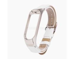 """Ремешок - для """"Xiaomi Mi Band 3/Mi Band 4"""" кожаный с классической пряжкой (white)"""