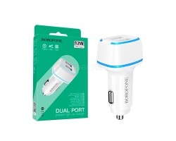 Автомобильное зарядное устройство USB Borofone BZ14 (2.4A, 2 порта) Белый