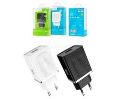 Сетевое зарядное устройство USB Hoco C42A (3A,быстрая зарядка QC 3.0) Белый
